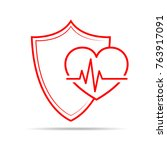 shield icon with heartbeat sign ... | Shutterstock .eps vector #763917091