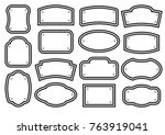 set of black white plates for... | Shutterstock .eps vector #763919041