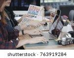 teamwork brainstorming concept. ... | Shutterstock . vector #763919284