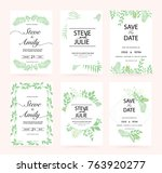 green wedding invitation card | Shutterstock .eps vector #763920277