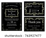 wedding invitation   save the... | Shutterstock .eps vector #763927477