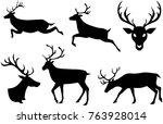 reindeer christmas isolated... | Shutterstock .eps vector #763928014