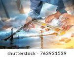 team of engineers discussing...   Shutterstock . vector #763931539