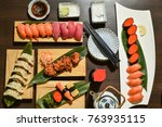 sushi and rolls background ... | Shutterstock . vector #763935115
