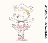 cute bear ballerina dancing... | Shutterstock .eps vector #763936639