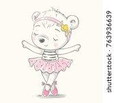 cute baby bear ballerina... | Shutterstock .eps vector #763936639