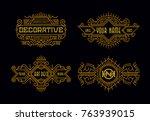 art deco vintage badges modern... | Shutterstock .eps vector #763939015