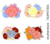 collection of flowers bouquets | Shutterstock . vector #763947301
