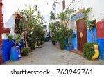 colourful street in the medina... | Shutterstock . vector #763949761