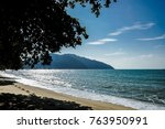 peaceful view of sea under the... | Shutterstock . vector #763950991