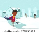 young african american father... | Shutterstock .eps vector #763955521