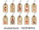 christmas tags set  doodle hand ... | Shutterstock .eps vector #763958941