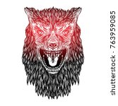 ferocious wolf head. angry... | Shutterstock .eps vector #763959085