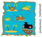 treasure map vector... | Shutterstock .eps vector #763960189