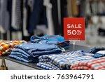 sale 50  off mock up advertise... | Shutterstock . vector #763964791