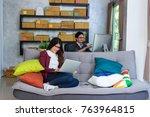 couple asian teenager owner... | Shutterstock . vector #763964815