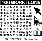 100 work icons  vector   Shutterstock .eps vector #76396906