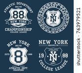 set of new york  ny vintage... | Shutterstock .eps vector #763979521