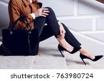 closeup legs fashionable woman... | Shutterstock . vector #763980724