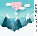 origami balloon with cloud ... | Shutterstock .eps vector #763981951