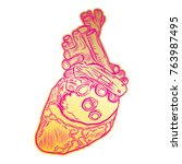 golden human heart in hand... | Shutterstock .eps vector #763987495