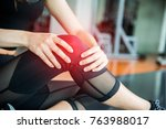 sports injury at knee in... | Shutterstock . vector #763988017