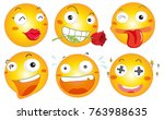 yellow ball with different... | Shutterstock .eps vector #763988635