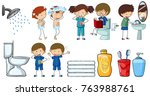 children doing different... | Shutterstock .eps vector #763988761