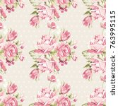 seamless floral pattern with... | Shutterstock .eps vector #763995115