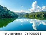 landscape of the dam and lake... | Shutterstock . vector #764000095