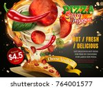 pepperoni pizza with stringy... | Shutterstock .eps vector #764001577