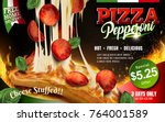 mouthwatering pizza ads  cheese ... | Shutterstock .eps vector #764001589
