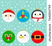 merry christmas ball toy... | Shutterstock .eps vector #764004799