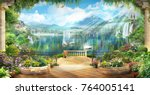 digital fresco. terrace with... | Shutterstock . vector #764005141