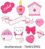 cute little princess sticker... | Shutterstock .eps vector #764013901