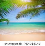 palm and tropical beach | Shutterstock . vector #764015149
