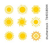 yellow sun flat vector icon set ... | Shutterstock .eps vector #764018044