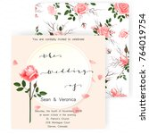 save the date card  wedding... | Shutterstock .eps vector #764019754