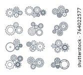 illustration. set icons black... | Shutterstock . vector #764022577
