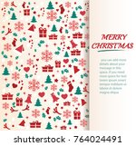 christmas greeting card with... | Shutterstock .eps vector #764024491