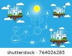 paper art concept of social... | Shutterstock .eps vector #764026285