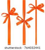 set of vertical orange ribbons... | Shutterstock .eps vector #764032441