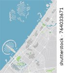 vector city map of dubai with... | Shutterstock .eps vector #764033671