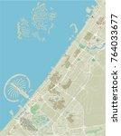 vector city map of dubai with... | Shutterstock .eps vector #764033677