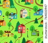 green summer landscape of town... | Shutterstock .eps vector #764033947