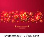 red christmas background with... | Shutterstock .eps vector #764035345