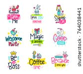 vector poster collection with... | Shutterstock .eps vector #764038441