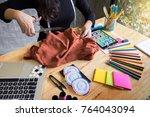 hands notch tailor tailor's... | Shutterstock . vector #764043094