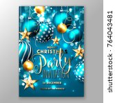 christmas party invitation with ... | Shutterstock .eps vector #764043481