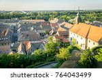 old roof tops of an old housing ... | Shutterstock . vector #764043499